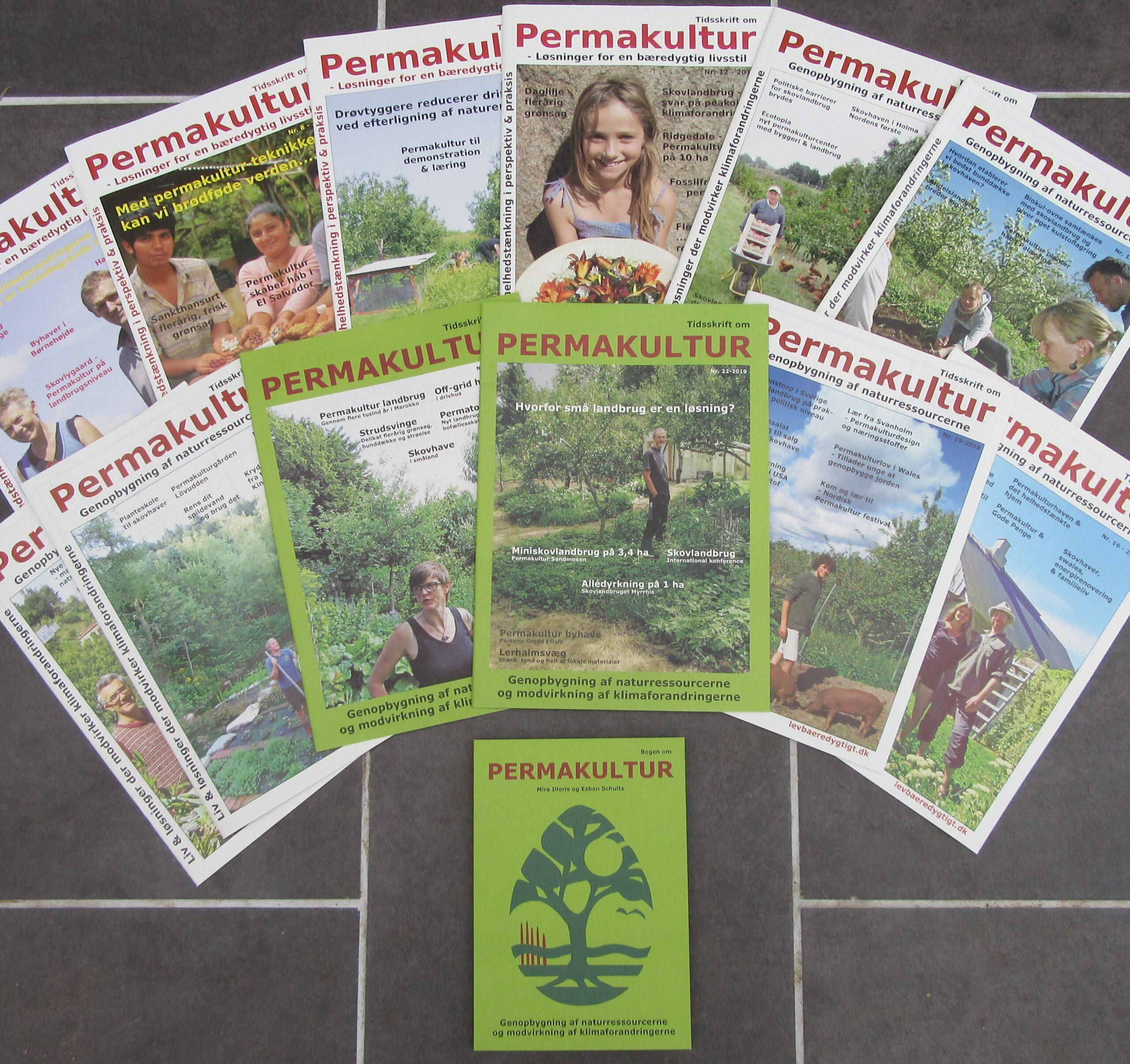 Rabat på sætte af tidligere tidskrifter og Bogen om Permakultur der supplerer hinanden